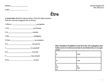 French Catjugation: Irregular Verb Conjugation Set