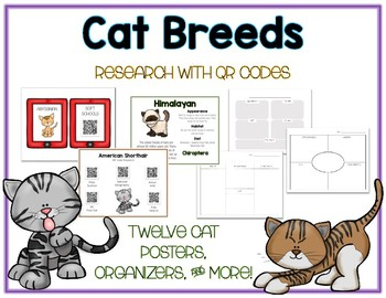 Cats - Animal Research w QR Codes, Posters, Organizer - 12 Pack