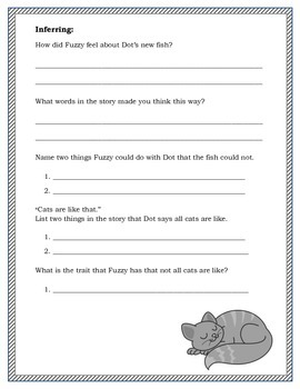 """""""Cat's Are Like That,"""" Comprehension worksheet"""
