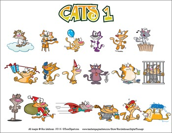 Cats Cartoon Clipart Volume 1