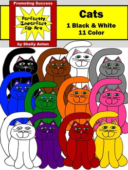 Colorful Cats Clipart, Primary Colors Clip Art, Halloween Clip Art, Pets Clipart