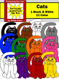 Colorful Cats Clipart, Primary Colors Clip Art, Halloween