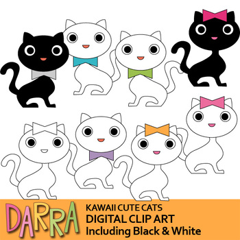 Cats Clip Art White and Black - Kawaii cute cats
