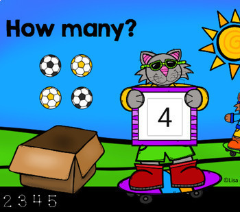 Cats Count Pictures to Five - Digital Task Cards