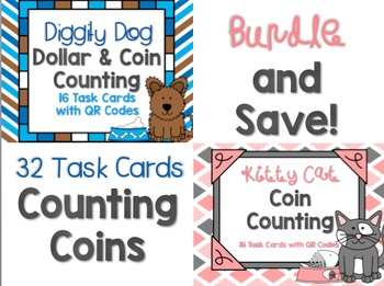Cats & Dogs Coins & Dollars Counting Task Card BUNDLE with QR Codes