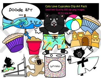 Cats Love Cupcakes Clipart Pack