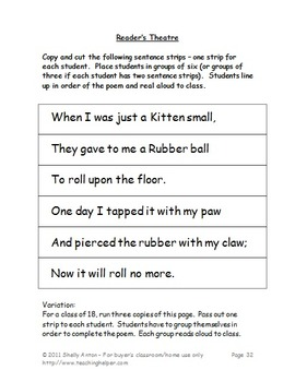 Poetry Unit Cat Theme, Types of Poems 3rd Grade 4th Grade Writing Activities