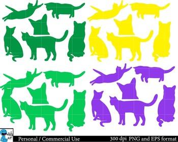 Cats Set Clipart Digital Clip Art Graphics 84 images cod85
