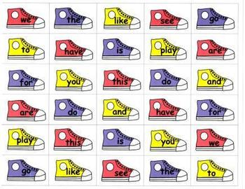 """Cat's Shoes """"Button It!"""" Sight Word Game-Kindergarten and First Grade"""