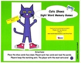 Cat's Shoes Sight Word Memory Games-Kindergarten and First Grade