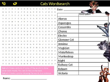 Cats The Musical Wordsearch Sheet Starter Activity Keywords Cover Music