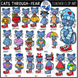Cats Through the School Year Clip Art