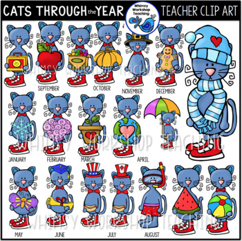 Cats Through the School Year #1 Clip Art (38 Graphics) Whi