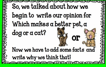 Cats Versus Dogs- Which makes a better pet?- Opinion Writing Smart Board