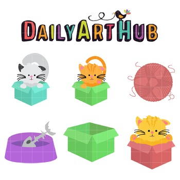 Cats and Box Clip Art - Great for Art Class Projects!