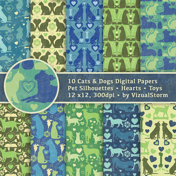 Cats and Dogs Digital Paper Background Patterns - 10 Handmade Printable Designs