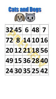 Cats and Dogs Multiplication Game
