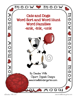 Cats and Dogs Word Sort and Hunt -ank, -ink, -unk