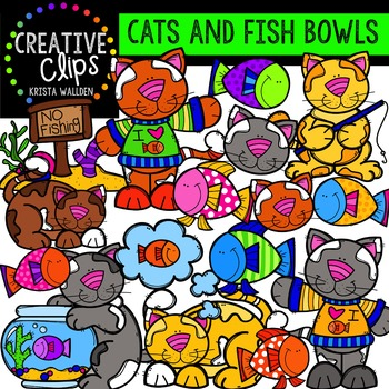 Cats and Fish Bowls {Creative Clips Digital Clipart}