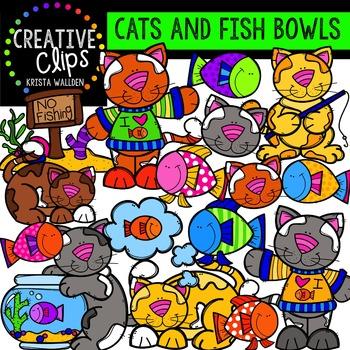 Cats and Fish Bowls {Creative Clips Digital Clipart}