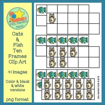 Cats and Fish Ten Frames Clip Art
