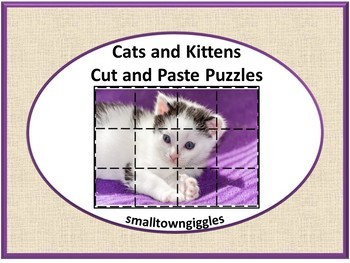 Cats and Kittens Cut and Paste Puzzles Preschool Kindergarten Special Education