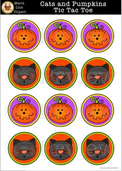 Cats and Pumpkins Tic Tac Toe Halloween Printable [Marie Cole Clipart]