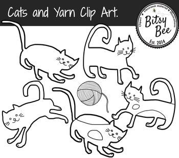 Cats and Yarn Clip Art