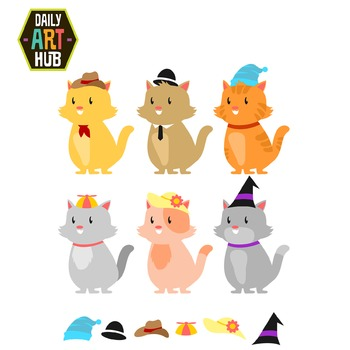 Cats in Cool Hats Clip Art - Great for Art Class Projects!