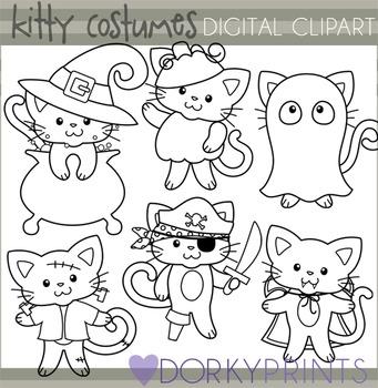 Cats in Costume Halloween Black Line Clip Art