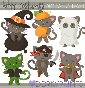 Cats in Costume Halloween Clip Art