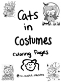 Cats in Costumes Coloring Pages/Great for Halloween or for fun!