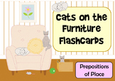 Cats on the Furniture -  Prepositions of Place Flashcards