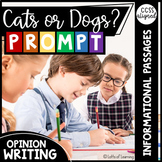 Distance Learning   Cats or Dogs Opinion Writing Prompt with Passages/Articles