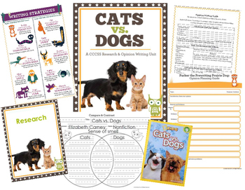 Cats vs. Dogs: A Common Core Research Persuasive Opinion Argument Writing Unit