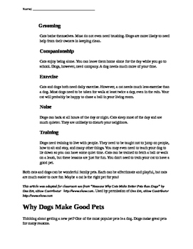 Cats vs. Dogs- Introduction to Opinion Writing