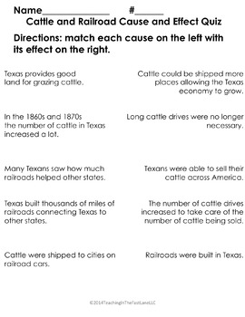 Cattle Drives Cause and Effect Quiz