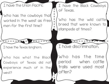 Cattle Trails and Cattle Movement of the 1800s {interactive vocabulary game}