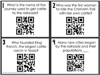 Cattle and Railroads Task Cards with Optional Self Checking QR Codes