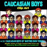 Caucasian BOYS Heads & Shoulders Clip Art Set for Teachers