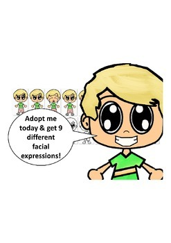 Caucasian Boy in Green Shirt with Nine Different Facial Expressions