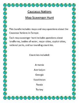 Caucasus Nations Map Scavenger Hunt