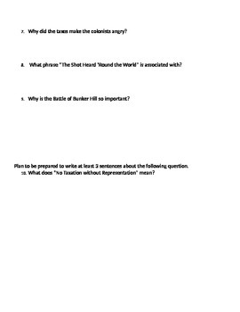 Caues of the American Revolution Study Guide