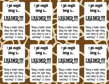 Caught Being A Leader cards - safari theme