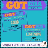 Behavior Management Cards: Caught Being Good & Caught Listening