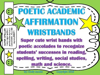 Academic Accolade Wrist Bands Caught Being Good Poetry Bracelets