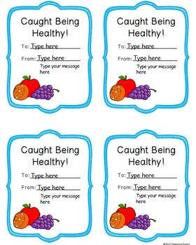 Healthy Habits: Caught Being Healthy Cards | Healthy Eating Printables
