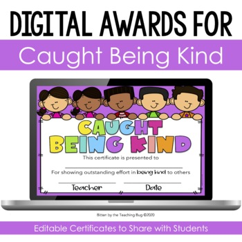 Caught Being Kind Random Acts of Kindness Certificates Editable