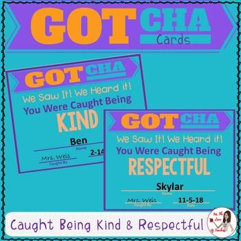 Behavior Management Cards: Caught Being Kind & Respectful