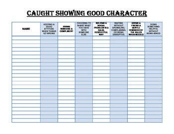 Caught Showing Good Character Chart